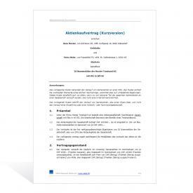 Muster Aktienkaufvertrag (Kurzversion)
