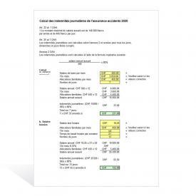 Calcul des indemnités journalières de l'assurance accidents