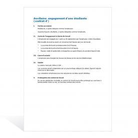 Contrat d'auxiliaire Engagement d'une étudiante