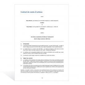 Modèle Contrat de vente d'actions