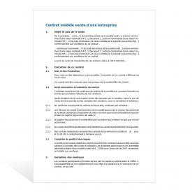 Contrat modèle vente d'une entreprise