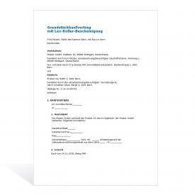 Grundstückkaufvertrag mit Lex-Koller Bescheinigung