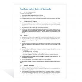 Modèle de contrat de travail à domicile