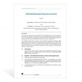 Muster Aktionärbindungsvertrag