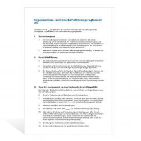 Muster Organisationsreglement AG