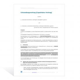 Muster Entsendungsvertrag in die Schweiz