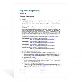 Règlement des provisions