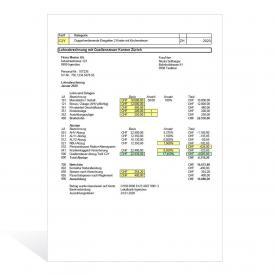 Vorlage Lohnabrechnung mit Quellensteuerabzug (Kt. ZH)