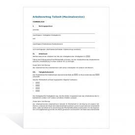 Muster Arbeitsvertrag Teilzeit (Maximalversion)