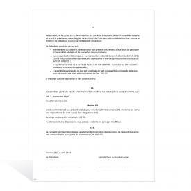 Assemblée générale (SA) procès-verbal prévoyant la révision partielle des statuts