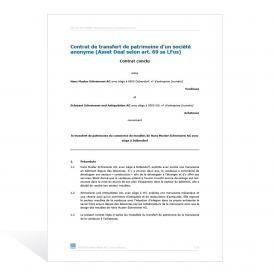 Modèle de contrat relatif au transfert d'actifs (Asset Deal)