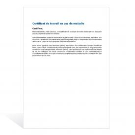 Certificat de travail en cas de maladie
