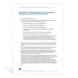 Checkliste – Rückforderung französischer Umsatzsteuer durch CH-Unternehmen