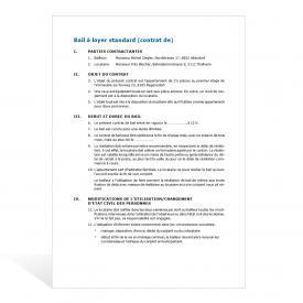 Contrats de bail à loyer standard