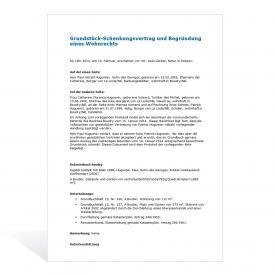 Muster Grundstück-Schenkungsvertrag