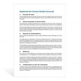 Modèle de règlement de l'horaire flexible