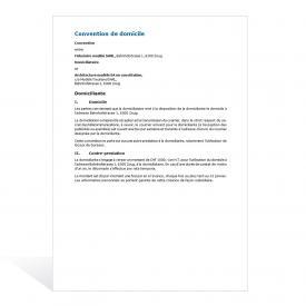 Modèle Convention de domiciliataire d'une SA
