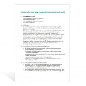 Muster Kooperationsvertrag (Akquisitionszusammenarbeit)