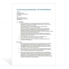 Muster Lizenzvertrag (Herstellung und Vertrieb)
