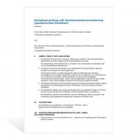 Muster Darlehensvertrag (mit Gewinnanteilsvereinbarung)