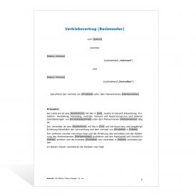 Muster Vertriebsvertrag (Basismuster)