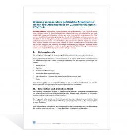 Weisung an besonders gefährdete Arbeitnehmer/-innen im Zusammenhang mit COVID-19