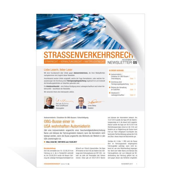 Newsletter Strassenverkehrsrecht