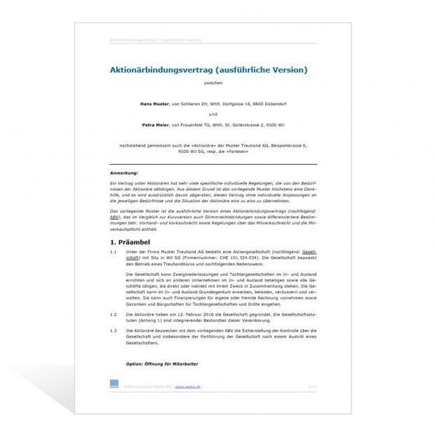 Muster Aktionärbindungsvertrag (ausführliche Version)