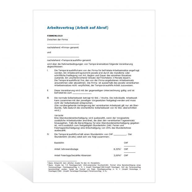 Muster Arbeitsvertrag Arbeit auf Abruf