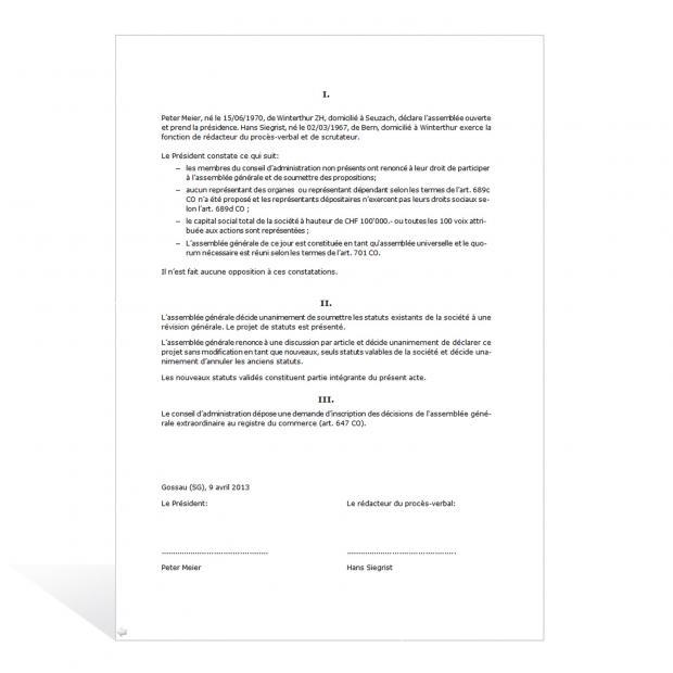 Assemblée générale (SA) procès-verbal prévoyant la révision générale des statuts