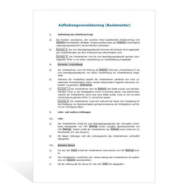Muster Aufhebungsvertrag