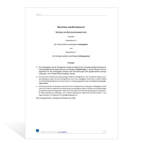 Mustervertrag zur Auftragsverarbeitung nach DSGVO