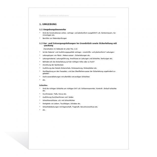 Checkliste zur ausführlichen Werkabnahme