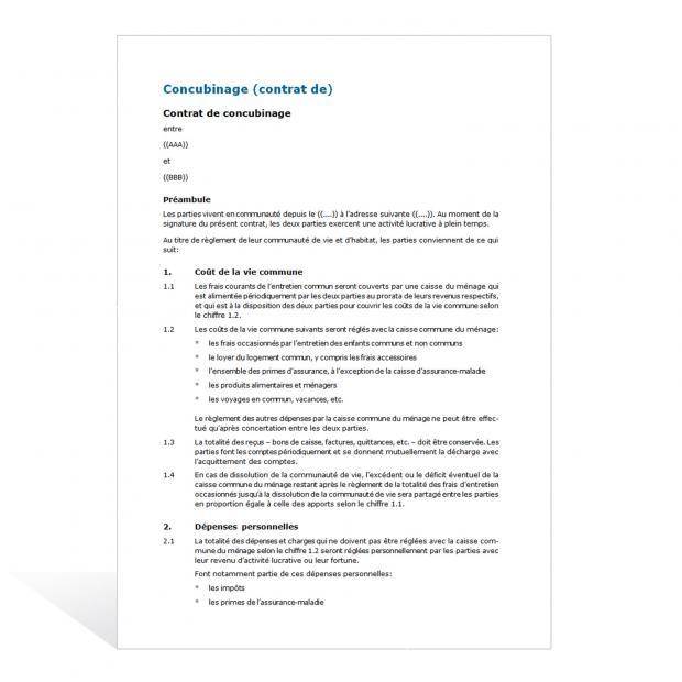 Contrat de concubinage