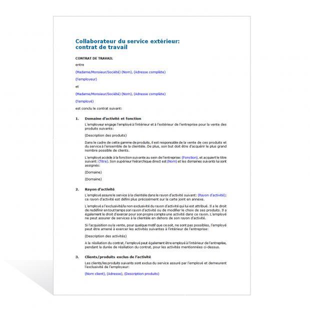 Contrat de travail d'un collaborateur du service extérieur