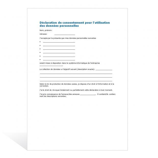 Déclaration de consentement pour l'utilisation des données personnelles