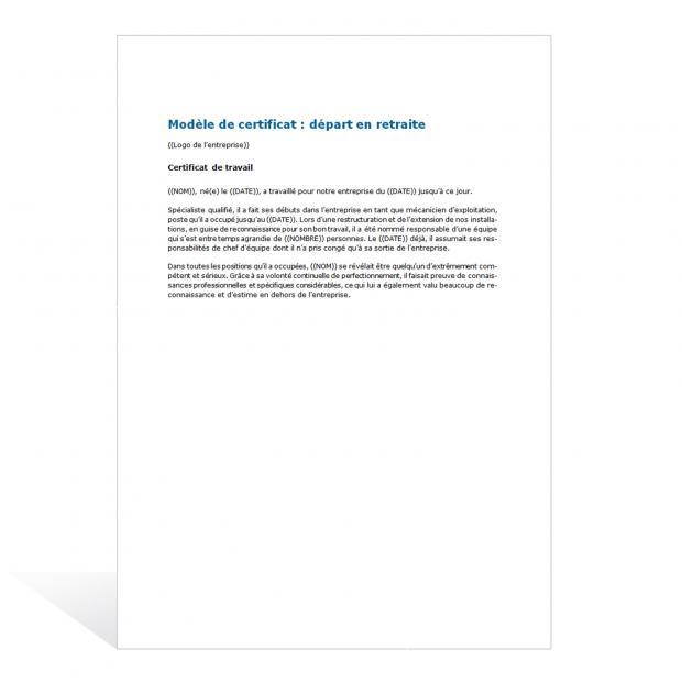 Modèle de certificat - départ en retraite