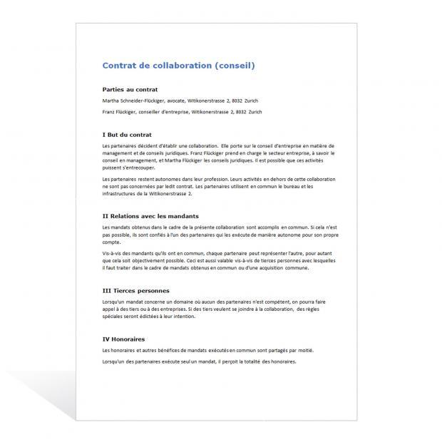 Modèle de contrat de collaboration