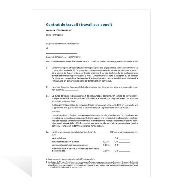 Modèle de contrat de travail (travail sur appel)