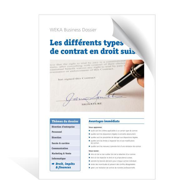 Les différents types de contrat en droit suisse