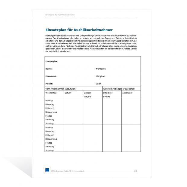 Muster Einsatzplan für Aushilfsarbeitnehmende
