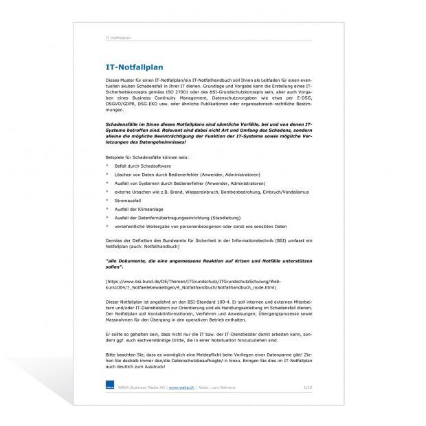 Mustervorlage IT-Notfallplan