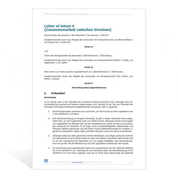 Muster Letter of Intent (Zusammenarbeit zwischen Vereinen)