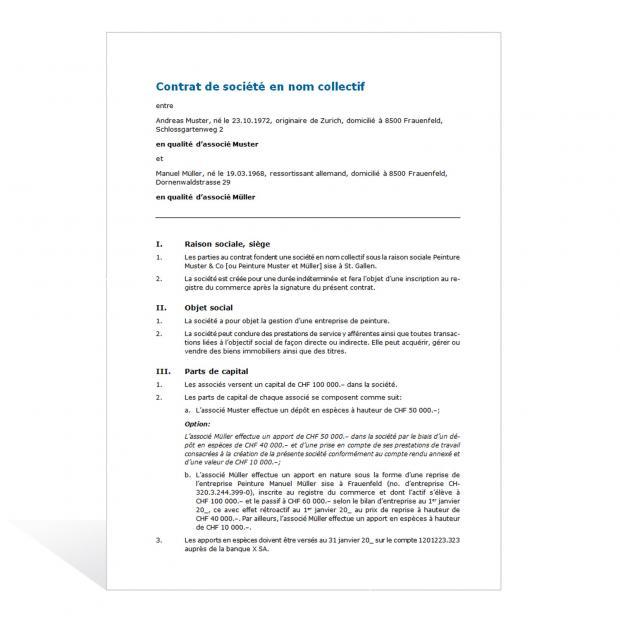 Modèle de contrat pour une société en nom collectif
