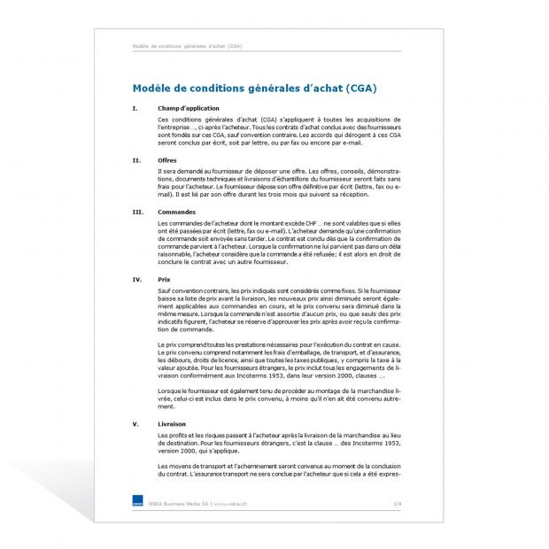 Modèle de conditions générales d'achat (CGA)