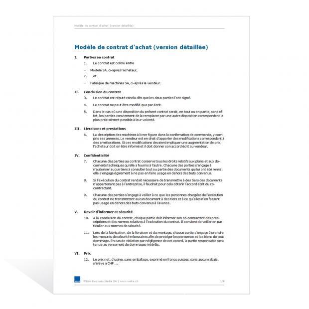Contrat d'achat (version détaillée)