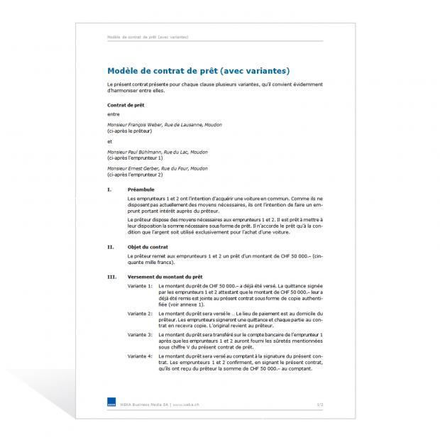 Contrat de prêt (avec variantes)