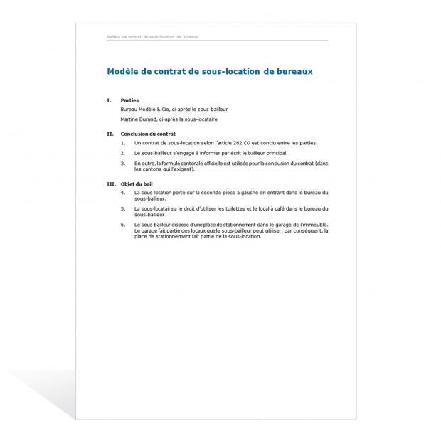 Modèle de contrat de sous-location de bureaux