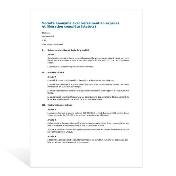Contrat Création d'une SA avec versement en espèces