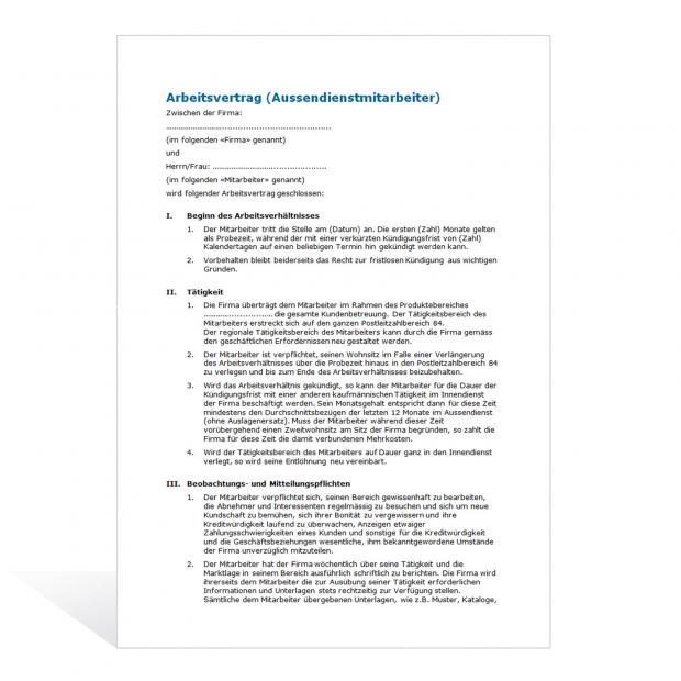 Muster Arbeitsvertrag Aussendienstmitarbeiter